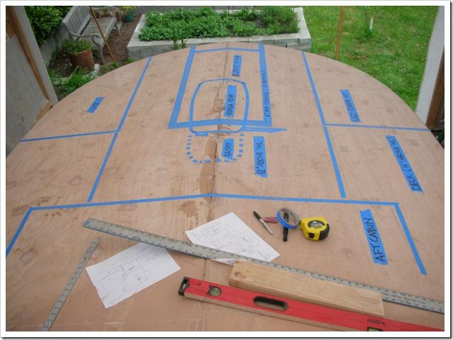 Stern layout marked with painters tape.