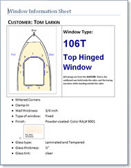 Window order sheet