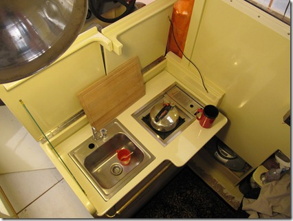 Galley with teakettle